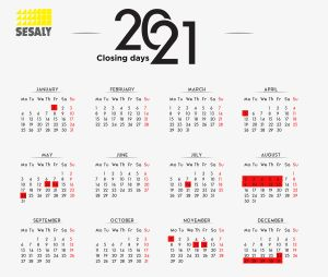 Calendar of closing days SESALY 2021
