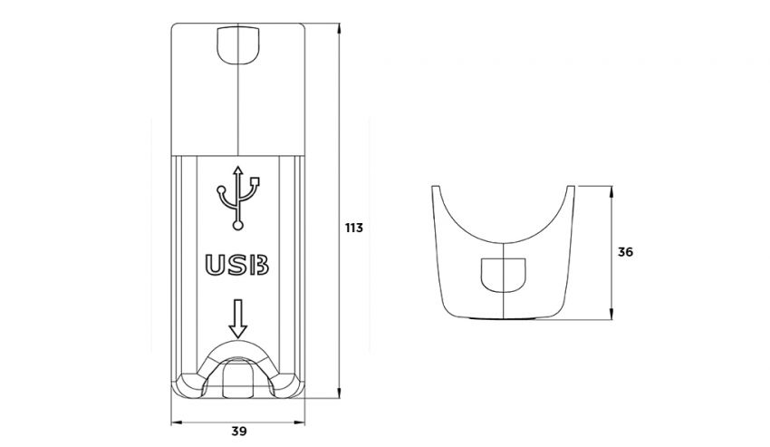 Drawing USB charging socket for comfort of bus-coach_sesaly