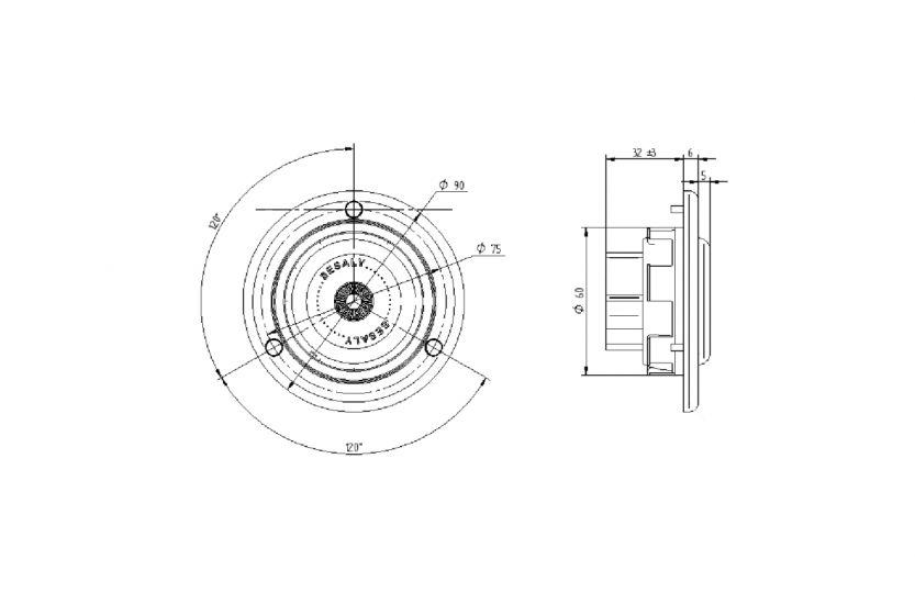 Spot orientable LED (SLE01) SESALY for lighting bus and coach (drawing)