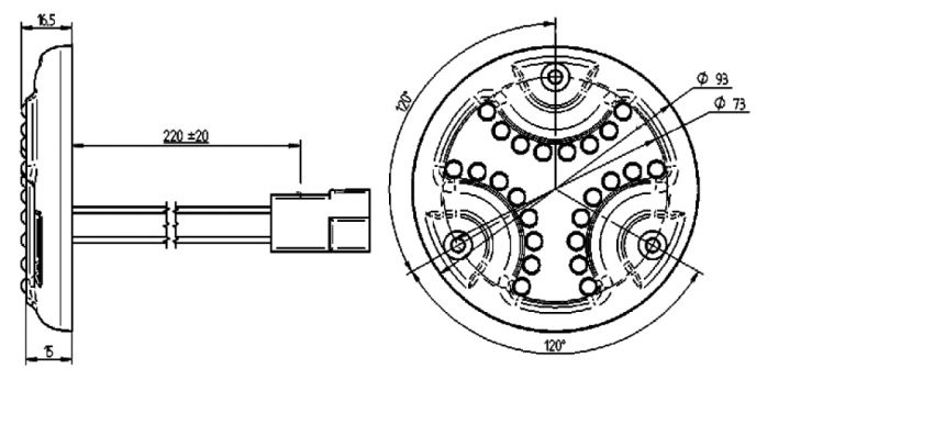Spot LED (VOY 425) SESALY for lighting bus and coach (drawing)