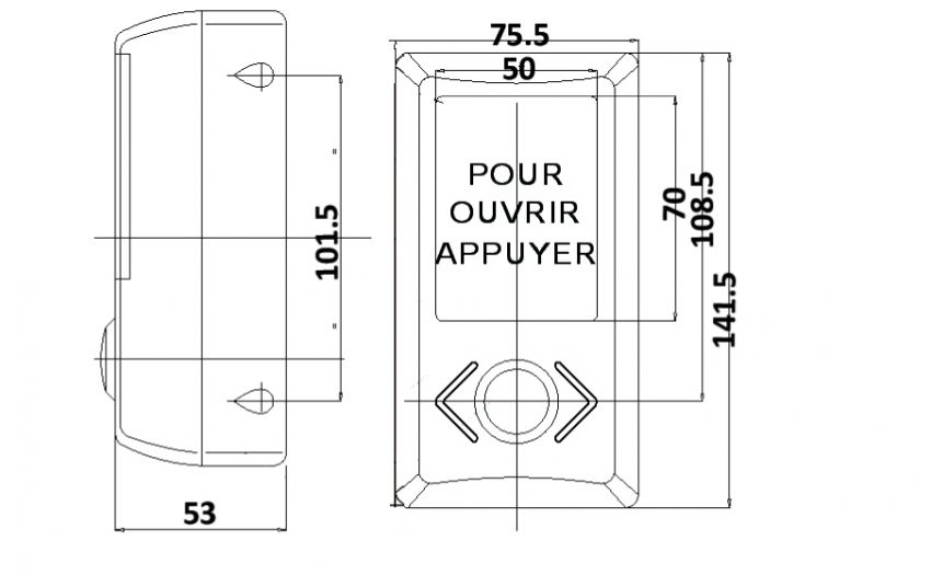 LED door opening box on column for bus and coach SESALY (drawing)